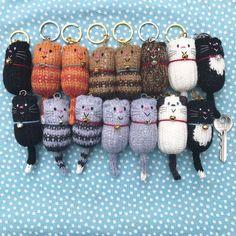 Cat – Fat Cat Hand Knitted Keychain, Keychain, Key Chain, Bag Charm, Cat Lover Gift – The Best Ideas Cat Gifts, Cat Lover Gifts, Cat Lovers, Knitted Cat, Knitted Dolls, Cat Keychain, Original Design, Key Fobs, Key Chain