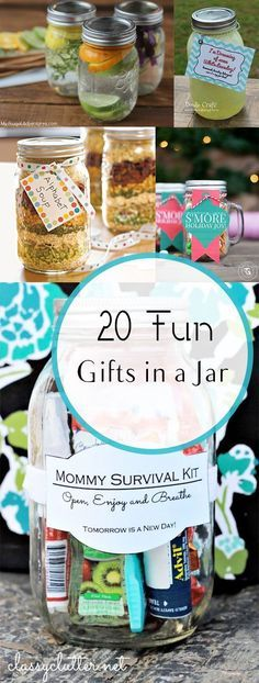 20 Fun Gifts in a Jar. 20 Fun Gifts in a Jar- Great ideas for neighbors, friends and holiday gifts. Mason Jar Gifts, Mason Jars, Gift Jars, Glass Jars, Diy Gifts In A Jar, Food Gifts, Craft Gifts, Diy Christmas Gifts, Holiday Gifts