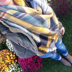 """Breakfast out with my parents, a trip to a local farm and an afternoon at the fire station for safety day... Today has already been a fantastic fall day Also, this scarf is back in stock - PLUS, @luxestatements is having a 20% off sale using the code """"ColumbusDay"""" // scarf @luxestatements // jeans and jacket #oldnavy // boots #tjmaxx"""