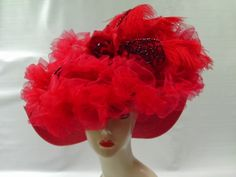 Kentucky Derby Hat Red Hat Society Hat Del Mar by crowninglorihats, $79.95
