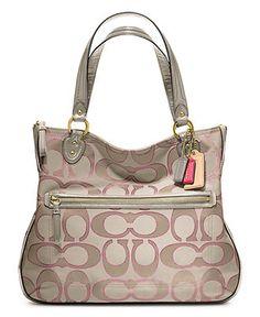COACH POPPY SIGNATURE METALLIC OUTLINE HALLIE TOTE - All Handbags - Handbags & Accessories - Macys