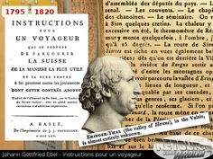 1795 - Johann Gottfried Ebel - Instructions pour un voyageur Event Ticket, History, Once Upon A Time, Wayfarer, Historia
