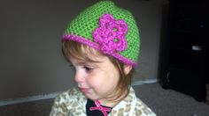 Girl's beanie with flower by laceybishop01 on Etsy, $12.00