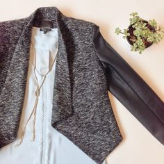 Tweed and faux leather make a chic combo!