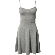 Club L Essentials Cami Swing Skater Dress ($19) ❤ liked on Polyvore featuring dresses, vestidos, short dresses, light gray, party dresses, womens-fashion, light grey dress, round neck dress, flared skirt and skater skirt dress