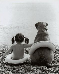Companions for life | happy | love | dog | swim | together | black & white | vintage photo | cool | www.republicofyou.com.au