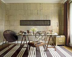 Nate Berkus Associates - oblong wall art; striped rug