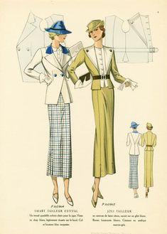 Fashion Plate from NYPL - Historical Fashion Vintage Dress Patterns, Vintage Dresses, Vintage Outfits, 1930s Fashion, Retro Fashion, Vintage Fashion, Womens Fashion, French Fashion, Victorian Fashion