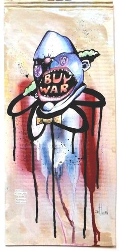 """buy war"" anthead 9X21 recycled cardboard outsider graffiti folk art pop urban #OutsiderArt"
