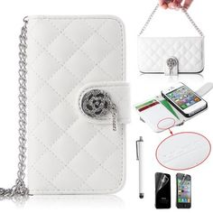 Pandamimi ULAK(TM) Luxury Handbag Chain Style PU Leather Wallet Case Folio Cover Credit Card Slot Holder for iPhone 4 4G 4S with Screen protector and Stylus (White) by ULAK, http://www.amazon.com/dp/B00FB688L6/ref=cm_sw_r_pi_dp_yecpsb17Z5AG3
