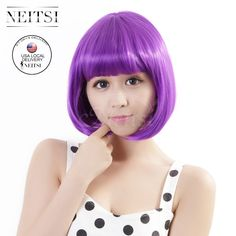 Neitsi Fashion Synthetic Short Wigs 1pc Full Lace Straight Bob Wigs Purple Color Cheap Beauty Cosplay Women Wig Fast Shipping