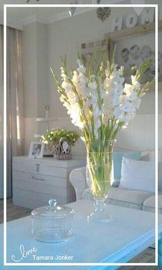 Living room white mint by Tamara Jonker # flowers # cozy # home decorations # sfeerhoekje # landelijk # woonkamer