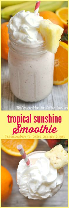 Welcome the warmer weather with this wholesome, filling, and protein-packed Tropical Sunshine Smoothie. It's a delicious and healthy on-the-go breakfast or snack that your entire family will love!