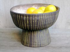 paula greif -- dark brown stoneware footed bowl… with yellow lines. | paulagreif.tumblr.com