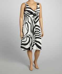 Another great find on #zulily! Black & White Stripe Surplice Dress - Plus #zulilyfinds