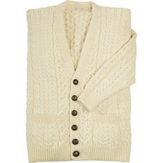 V-Neck Aran Natural Cardigan at Creative Irish Gifts.