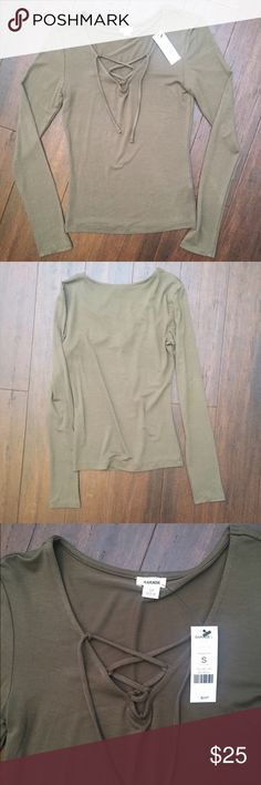 NWT Lace Up Long Sleeve New with Tag! Garage Tops Tees - Long Sleeve