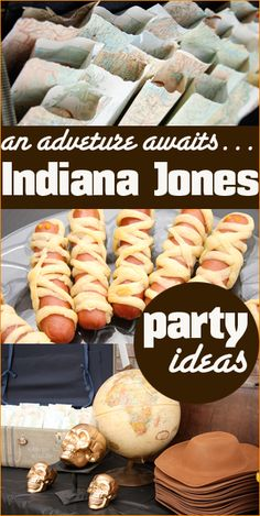 Indiana Jones Party Ideas.  Celebrate a boys birthday party with an adventure.  Great party games, party food, party decorations and awesome party favors.  Halloween party ideas.