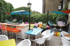 Cock Tavern Fulham Toad In The Hole, Quirky Decor, Sunday Roast, Fulham, Colorful Chairs, Beer Garden, Outdoor Furniture Sets, Outdoor Decor