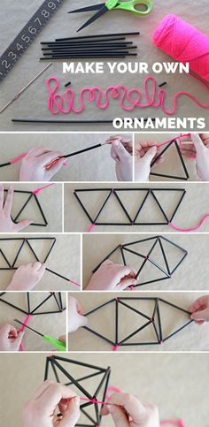 Make Your Own DIY Himmeli Ornaments (Diy Ideas Manualidades) Paper Christmas Ornaments, Christmas Crafts, Christmas Christmas, Diy Projects To Try, Craft Projects, Craft Ideas, Diy Ideas, Diy Papier, Ideias Diy