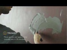 ▶ DIY cement muur - YouTube: Meng zak cement met wat witte verf. Leg fijne lagen op gyproc-platen. Met een natte spons (vooraleer het droog is) wat bijwerken, om grote oneffenheden er uit te krijgen.