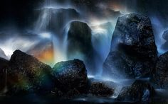 Waterfall and Rainbow Wallpaper
