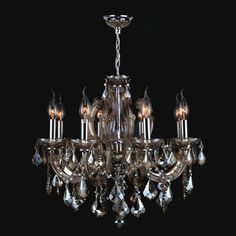 Catherine Eight-Light Chrome Finish with Golden Teak Crystal Chandelier