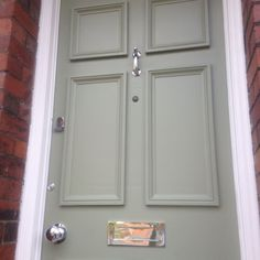 My lovely new door, painted in Farrow and Ball's Lichen with lovely chrome door furniture. Victorian Front Doors, Grey Front Doors, Painted Front Doors, Front Door Colors, Front Door Decor, Exterior Wood Paint, Exterior Door Colors, Exterior Front Doors, Front Door Planters