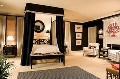 Sophisticated black bedroom with a seashell theme by Kelley Proxmire design:)