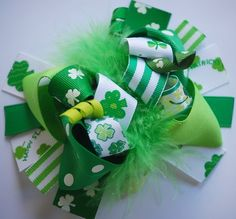boutique FUNKY FUN LUCKY green St Patty's Day hair bow by andjane