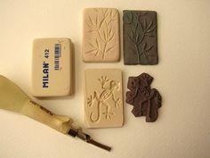 Carving Clay stamps from erasers  genius!  Caja y marco de arcilla polimérica by fperezajates, via Flickr