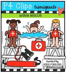 Just in time to review WATER SAFETY!Keep Cool! STAY SAFE !This set includes:- 1 lifeguard chair- 4 life guards- 1 pair of binoculars- 1 beach umbrella- 1 swimmer- kids swimming- 4 kids drowning- 1 first aid kit- 1 rescue rope- 1 life jacket- 1 flutter board- 1 rope- 1 pair of goggles- 1 long board- 1 back board- 1 flag- 1 whistle- 1 ring- 1 hookThis clip art set includes 46 images. $3.50 4 Kids, Art For Kids, Lifeguard Chair, Water Rescue, Safety Awareness, Ocean Day, Water Safety, Oceans Of The World, Teaching Aids
