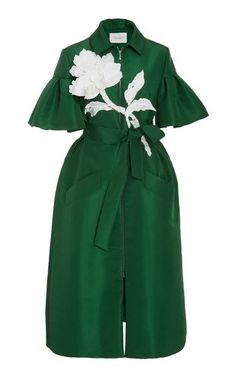 Zip Front Embroidered Dress by Carolina Herrera