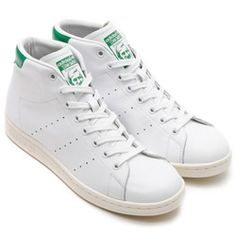 adidas STAN SMITH MID (WHITE) Running White / Green / Chalk White Adidas Stan Smith, Air Max, Running, Nike, Mens Fashion, Shoes, Adidas Sneakers, High Top Sneakers, Racing