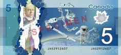 With the help of Commander Chris Hadfield aboard the ISS, the Bank of Canada yesterday launched its new robot- and astronaut-themed five dollar bill. Hadfield had been keeping the new bill under wraps for months. I Am Canadian, Canadian Coins, Canadian Dollar, Chris Hadfield, Universe Today, O Canada, Gifts For Photographers, News Space