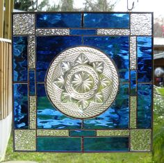 Favorite  Like this item?    Add it to your favorites to revisit it later.  Stained Glass Panel Window Treatment with Vintage 1940s Luminarc Plate