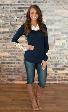 The Pink Lily Boutique , All I Need Lace Sleeve Blouse Navy, $35.00 (http