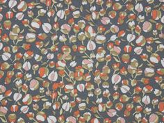 Viskosejersey Flower-Mix, grau-orange