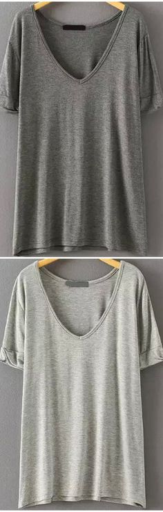 Super soft cotton loose t-shirt at romwe.com. Four cold colors here.Come&Sign up for up to 60% off with free shipping!