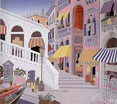 """""""Rialto Piazza"""" by Thomas McKnight - Show Large Artwork Thomas Mcknight, Art Thomas, Large Artwork, House Illustration, Poster Prints, Art Prints, Naive Art, Illustrations And Posters, Pictures Images"""