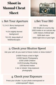 Follow along with this photography series on how to shoot in manual mode. Use this cheat sheet to help you shoot in manual mode and make beautiful photos! by Shirley Miracle Stegman