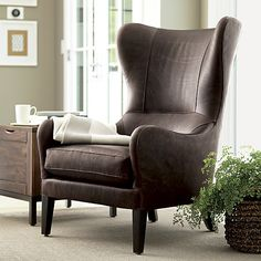 Garbo Leather Wingback Chair in New Furniture | Crate and Barrel