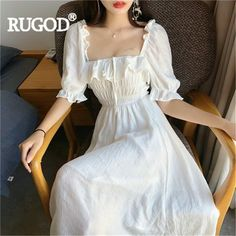 buy RUGOD Women maxi dress solid ruffles puff sleeve square collar a-line tie beach style long dress 2019 new summer fashion elegant Pretty Outfits, Pretty Dresses, Awesome Dresses, Boho Dress, Dress Up, Ruffle Dress, Vintage Dresses, Vintage Outfits, Mode Boho