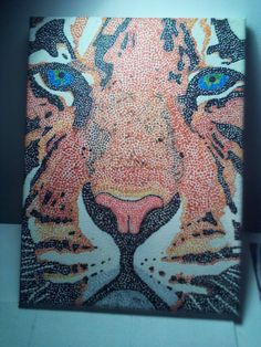 Fashion Is Art: Pointillism Painting Of a Tiger (Acrylic Paint)