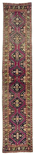Caucasian-Karabagh-rug  end of the 19th century, ghiordes-knot, damaged, incomplete at the edges 524*107 cm