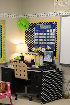 Cover the end of the teacher's desk to hide storage with a curtain (use Velcro dots)