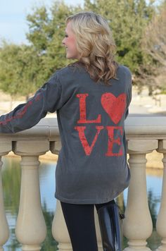 VINTAGE BLACK – 100% garment dyed cotton long sleeved Love Heart tee from Southern Goods