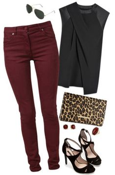 what shoes to wear with maroon dress best outfits Welche Schuhe zu Kastanienbraunem Kleid tragen? Jean Outfits, Fall Outfits, Casual Outfits, Look Fashion, Fashion Models, Womens Fashion, Mode Swag, Maroon Jeans, Oxblood Jeans