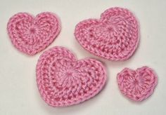 Free Crochet Patterns Love Hearts Good for Coasters Makes 3 sizes and a puffy heart. requires concentration to count stitches. Magic ring to TRCR is a little tricky.