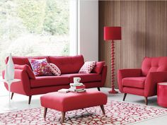 1000 Images About Hot Red On Pinterest Large Footstools Retro Look And Chairs